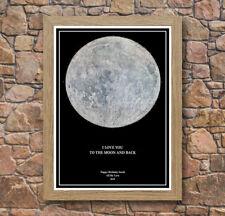 Personalised Moon Star Night Black Map Oak Framed Poster Print - Wonderful Gift!