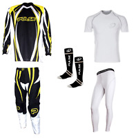 PULSE YELLOW TSUNAMI MOTOCROSS MX ENDURO QUAD BMX MTB KIT + BASE LAYERS & SOCKS