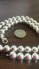 "New 20"" 925 Sterling Silver 10 mm Ball Beads Necklace Ships Today Stunning"