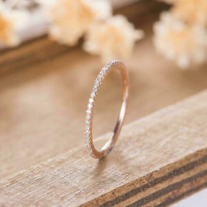 2.15Ct Round Cut VVS1/D Diamond Wedding Band Ring 14K Rose Gold Finish