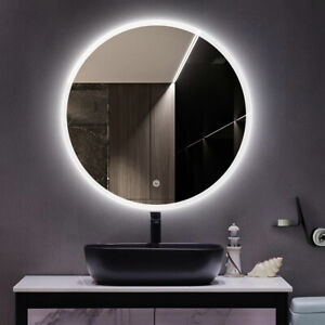 LED Round Bluetooth Mirror Bathroom Vanity Dimmable Circle Wall Mirror 800mm