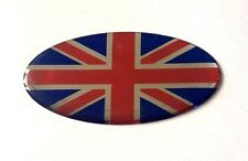 50mm Oval UNION JACK FLAG Sticker/Decal RED - CHROME- BLUE - GLOSS DOMED GEL  UK