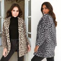 Womens Winter Outerwear Ladies Parka Warm Faux Fur Leopard Jacket Coat Blazer US