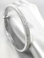 LUXURIOUS 18kt White Gold Plated CZ Crystals 3 PC Bangles Bracelet