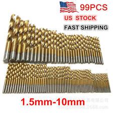 """99PCs Drill Bit Set 1/16""""-3/8"""" HSS Titanium Multi Drill Bits Twist Metal Tools"""