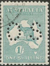 Kangaroos - Sml Multi Wmk: 1/- Blue-Green, Die IIB, punct. Small 'OS'. CTO