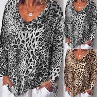 UK Women Ladies Long Sleeve Floral Blouse Casual Loose Leopard Tops T-Shirt Plus