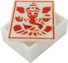 "4""x3""x2"" Marble Inlay Box Coral Ganesha Traditional Arts Christmas Gift E2024"
