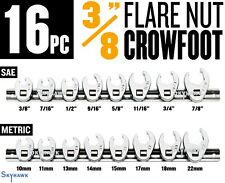 16PC 3/8 FLARE NUT CROWFOOT WRENCH SET WITH HOLDER - SAE+METRIC