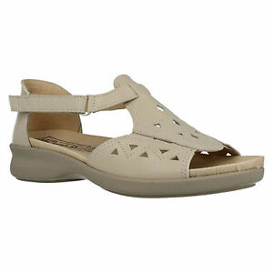EASY B DB KIRSTY LADIES LEATHER RIPTAPE STRAP OPEN TOE FLAT WIDE SUMMER SANDALS