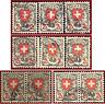 Schweiz 1924 Wappen 2 Fr., 6 Stück + 2 waagrechtr Paare, gest. Zst 166, Mi 197x