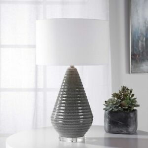 """CARDEN XXL 28"""" MODERN RIBBED TEXTURED CERAMIC TABLE BUFFET LAMP UTTERMOST 28273"""