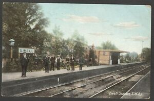 Postcard Ewell railway station interior nr Epsom Surrey on South Western Railway