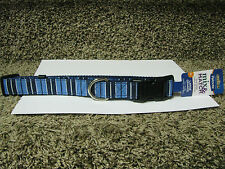 """Petmate Dog Collar, Blue Striped, Large, 16-26""""x1""""-new with tags!"""