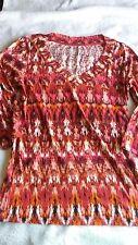 Nicole Miller New York L Top V-Neck Pink Orange 3/4 Sleeves Ikat Dance Cotton
