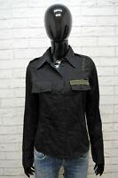 Camicia Donna Dondup Taglia 40 Manica Lunga Cotone Shirt Woman Hemd Nero Chemise
