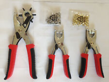Revolving Punch Hole Pliers 3 Set with Eyelets Press Stud Heavy Duty german new
