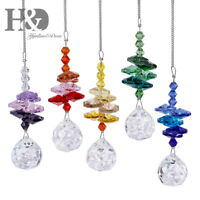 5PCS Rainbow Crystal Suncatcher Hanging Ball Prisms Pendant Window Home Decor