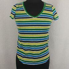 C&C California Striped Top - Size XS Blue Green Yellow White Stripes Made in USA