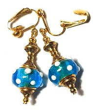 Long Gold Turquoise White Clip-On Earrings Drop Dangle Glass Beads Jewellery