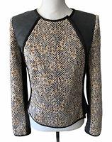 Rachel Roy Womens Blazer Sz 6 Snake Print Stretch Cropped Jacket Asym Zip $189
