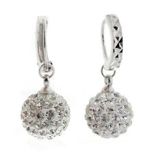 Fashion Womens Jewelry 18k White Gold Filled Crystal Rhinestone Hoop Earrings
