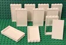 Lego X10 New White Glass W/ White Door Frame 1x4x6 For Windows / Walls Bulk Lot