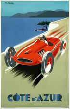 Vintage Illustrated Travel Poster CANVAS PRINT Cote D'azur red car A3