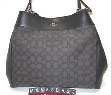 Coach F27579 Large Lexy Outline Signature Shoulder Bag Black Smoke Auth NWT $375