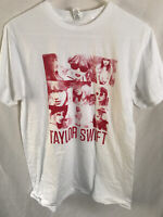 Taylor Swift White Squares Tee T-Shirt Medium Cotton Red Graphic