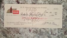1946 vintage coca cola check to The Miners' National Bank ishpeming, MI Jan 14th