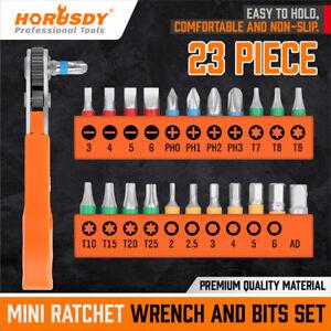 23PC Mini Ratchet Wrench Screwdriver Hex Torx Bit Quick Change Offset Reversible