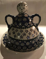 Boleslawiec Polish Pottery Large Doll Dessert Stand with Cover Peacock