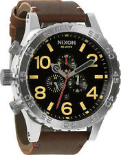 New Authentic Nixon A124019 A124-019 Watch Mens 51-30 Chrono Leather Black Brown