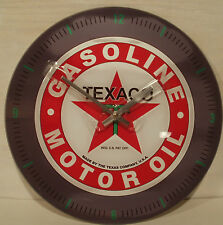 "Texaco Gasoline Oil 13.75"" Glass Wall Clock Vintage Style For ManCave,Garage,Bar"