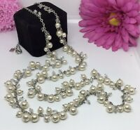 """30"""" Long Crystal & Faux Pearls Drop Sweater Necklace Signed BR Banana Republic"""
