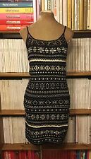 RALPH LAUREN black white wool cashmere knit beaded slip dress  6-8 US 2-4