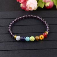 7 Chakra Bracelets 8MM Natural Stone Purple Beads Charm Men's Women's Bangle