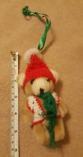 """Christmas Ornament Plush Bear with hat scarf vest 5"""" tree decoration pre-owned"""