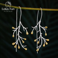 Unique Statement Tree Leaf Large Big Drop Earrings 925 Sterling Silver for Women