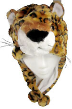 Critter Caps Plush Leopard Hat with Warm Winter Ear Flap Warmers & Chin Button