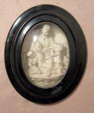1800 antique hand carved bisque wood religious Jesus Children wall sculpture art