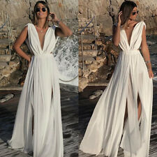 Ladies Long Ball Gown Prom Dresses Cocktail Formal Party Summer Maxi Dress White