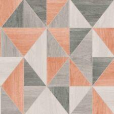 Neu Feine Dekor - Apex Holzmaserung Tapete Gebrannte Orange Geometrisch -