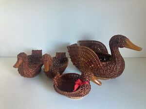 Vintage 4x Animal Duck Swan Wicker basket Egg Farmhouse Retro wooden beak