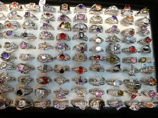 wholesale Lots mixed 30pcs crystal Real CZ vogue lady's silver top-quality rings