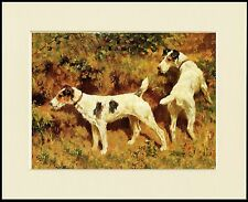 WIRE FOX JACK RUSSELL TERRIER DOG PRINT DOGS AT WORK MOUNTED READY TO FRAME