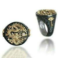 Men's Carved Dragon Black Gold Plated Ring Vintage Retro Rings Jewelry Gifts