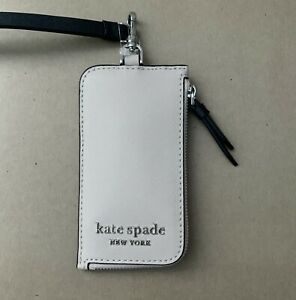Authentic Kate Spade Cameron lanyard ID Card Case Holder New Beige