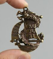 48MM Collect Chinese Fengshui Bronze Dragon Boat Sailboat Amulet Pendant Statue
